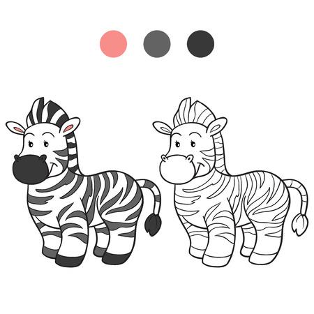 Coloring book (zebra) Vector