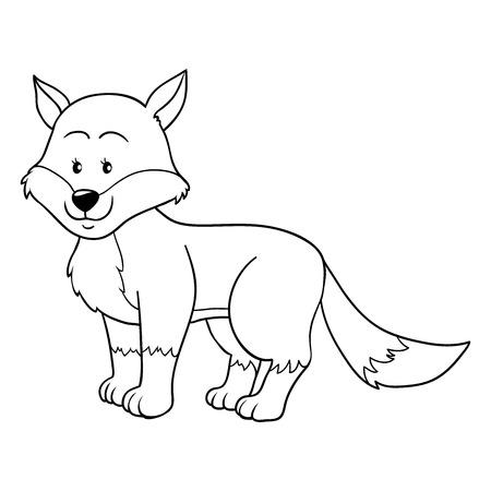 Coloring book (fox) Vector