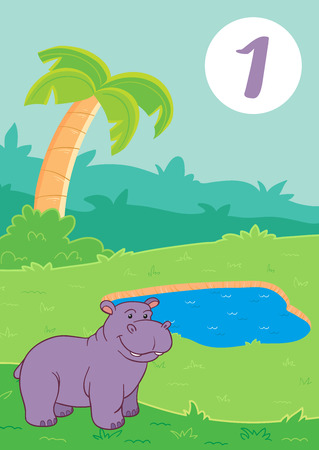 One cute hippo: Easy learn to count