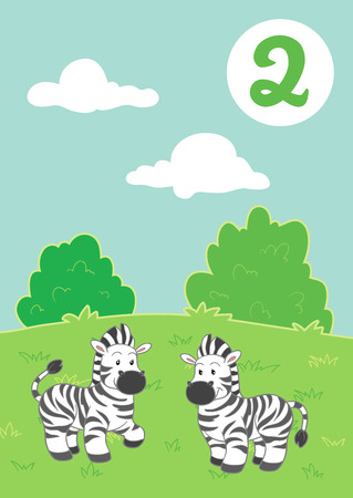 easy: Two cute zebras: Easy learn to count Illustration