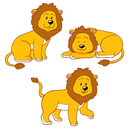comic baby: Set of vector animals (lions)