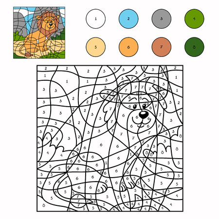 lion drawing: Color by number (lion)