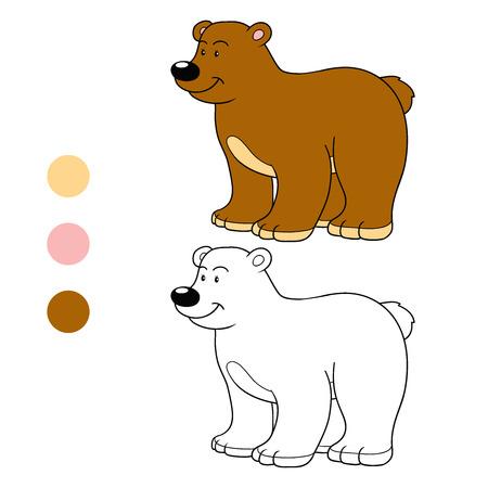 Libro De Colorear Para Niños - Pequeño Oso Ilustraciones Vectoriales ...