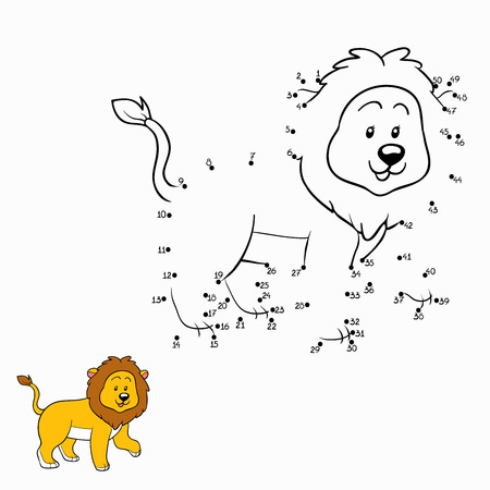 line drawing: Numbers game (lion)