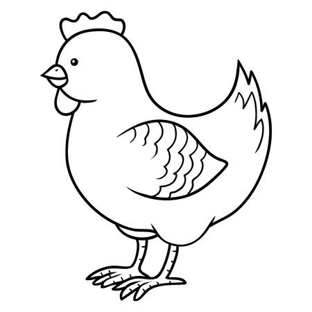 塗り絵 (チキン)  イラスト・ベクター素材