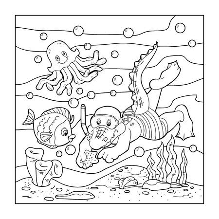 Coloring book (crocodile diver, ocean floor) Ilustração
