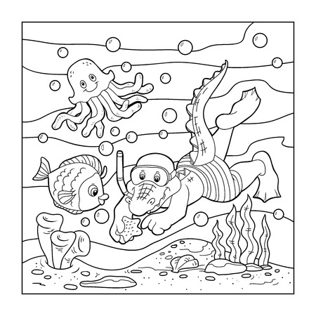 Coloring book (crocodile diver, ocean floor) Illustration