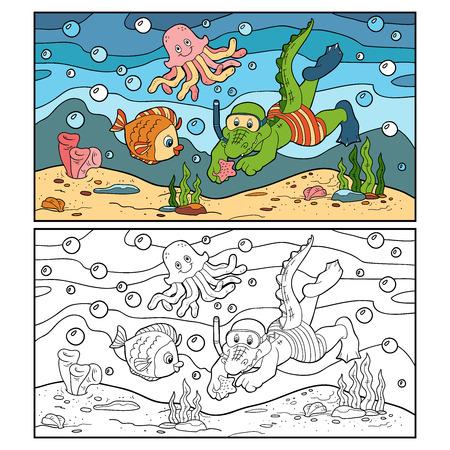 Coloring book (crocodile diver, ocean floor) Ilustracja