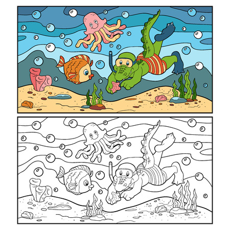 small fishes: Coloring book (crocodile diver, ocean floor) Illustration
