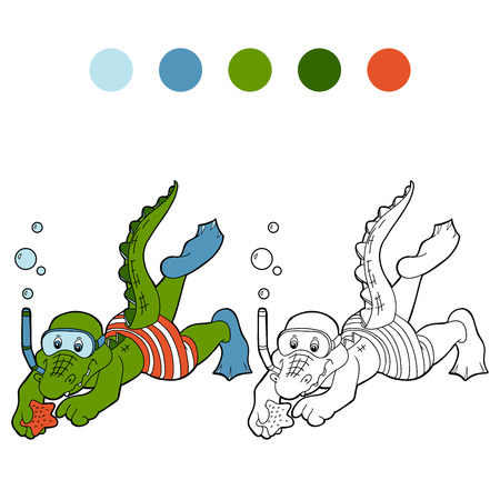 Coloring book (crocodile diver and sea star) Vector