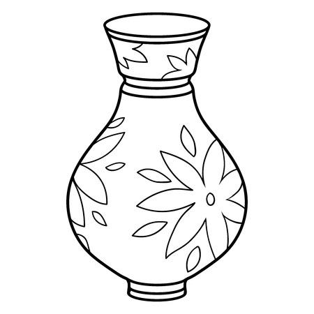 flower in vase: Coloring book (vase)