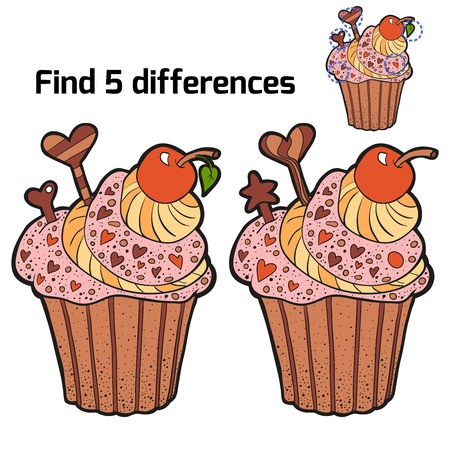 chocolate brownie: Find 3 differences (cupcake)