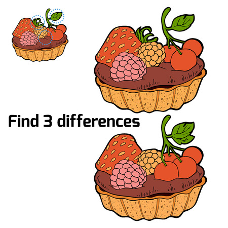 chocolate brownie: Find 3 differences (cake) Illustration