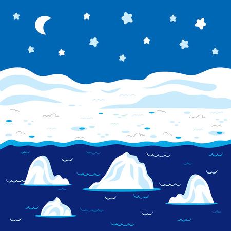 berg: Vector winter landscape, polar night