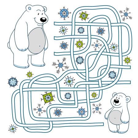 Maze game (polar bears) Ilustração