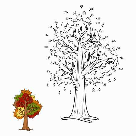 autumn colouring: Numbers game (autumn tree)