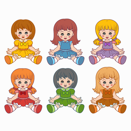 Colorful vector set with dolls for kids Vector