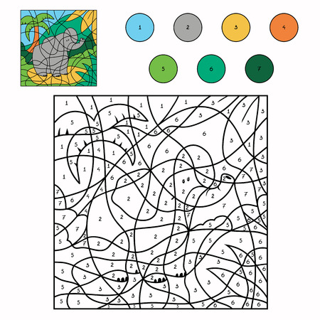 Color by number (elephant) Vector