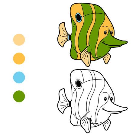 Coloring book (fish) Vector