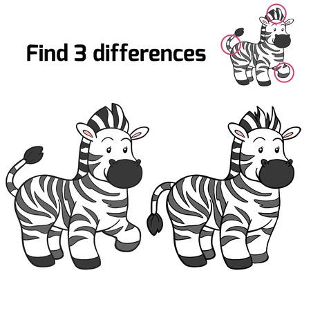 Vind 3 verschillen (zebra)