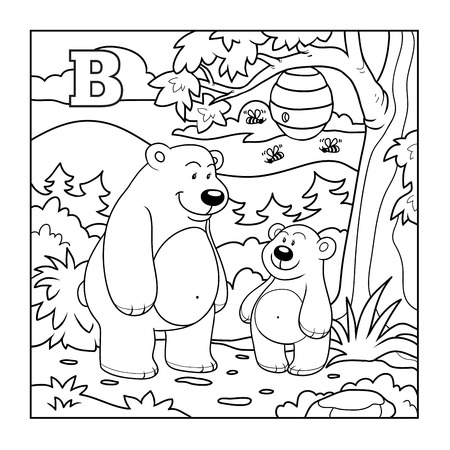 zoo animal: Coloring book (bears in the forest), colorless letter B