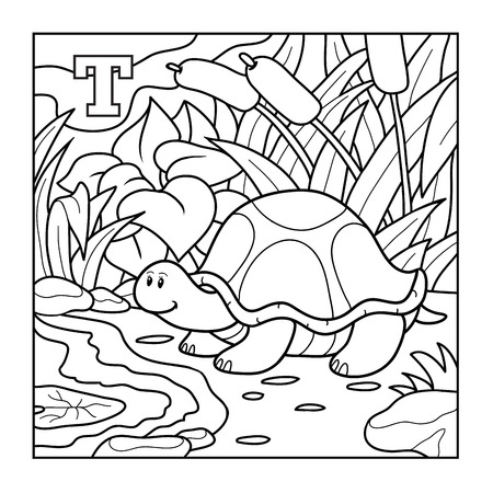 Coloring book (turtle), colorless alphabet for children: letter T 向量圖像