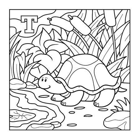 tortuga caricatura: Libro para colorear (tortuga), alfabeto incoloro para los ni�os: letra T