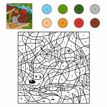 Color by number (hedgehog) Ilustracja