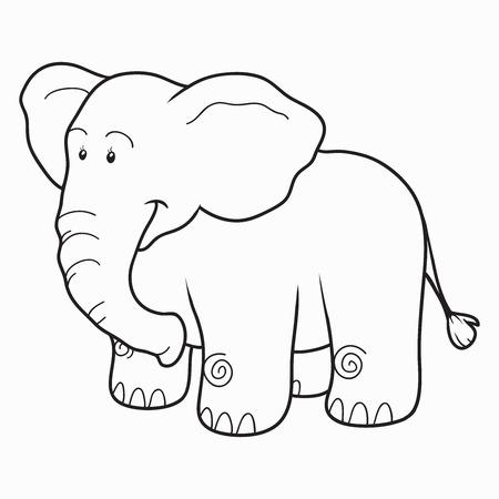 Libro Para Colorear Para Los Niños Elefante Ilustraciones