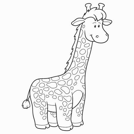 Coloring Bokk Giraffe Vector