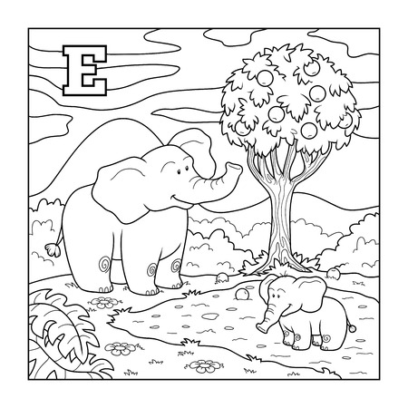 Coloring book (elephant), colorless alphabet for children: letter E Vector
