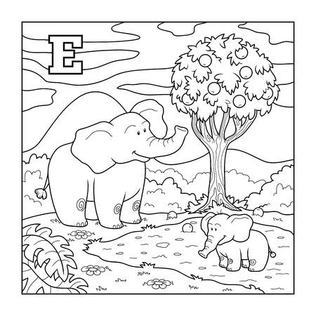 alfabeto con animales: Libro para colorear (elefante), alfabeto incoloro para los ni�os: letra E Vectores