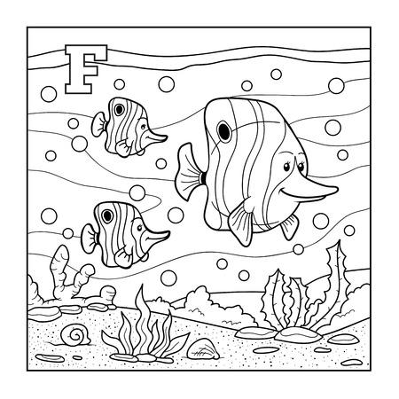 Coloring book (fish), colorless alphabet for children: letter F Ilustração