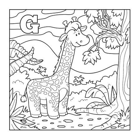 colorless: Coloring book (giraffe), colorless alphabet for children: letter G