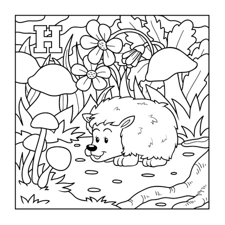 Coloring book (hedgehog), colorless illustration (letter H) Vector