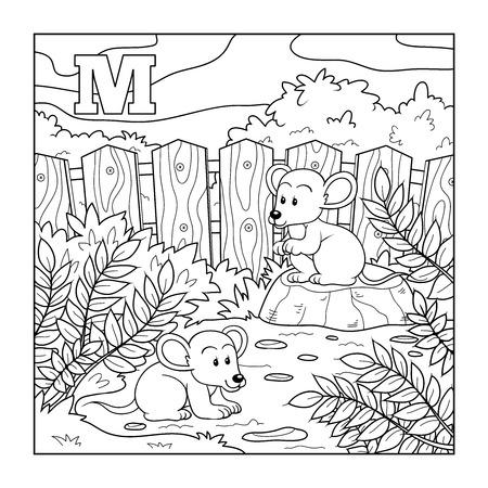 rata caricatura: Libro para colorear (ratones), alfabeto incoloro para los niños: letra M