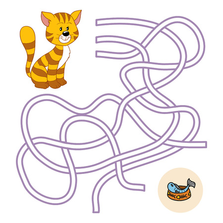 maze puzzle: Maze game (cat and fish)