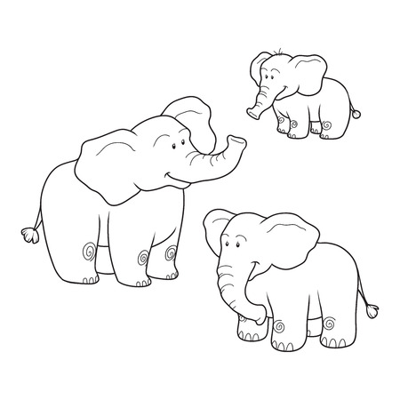 Coloring book (elephants), colorless set Vector