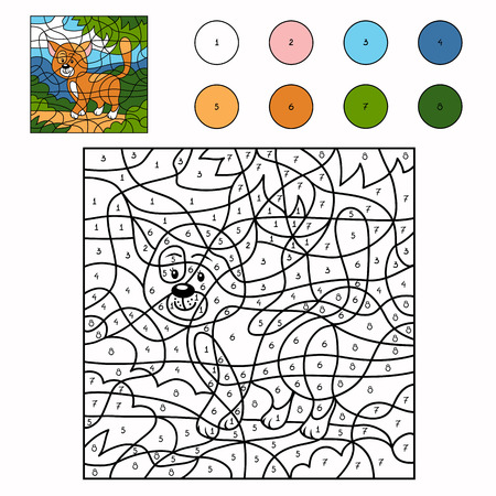 Color by number (cat) Ilustracja