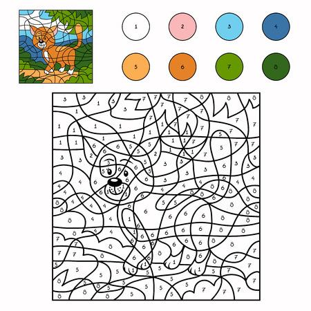 Color by number (cat) Ilustração