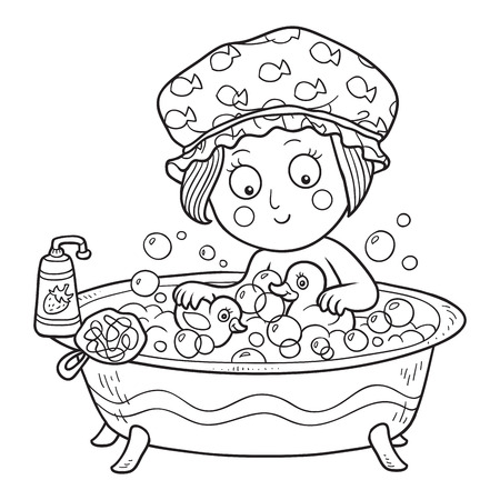 young girl bath: Coloring book (little girl in the bathroom)