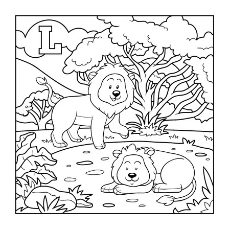 colorless: Coloring book (lion), colorless alphabet for children: letter L