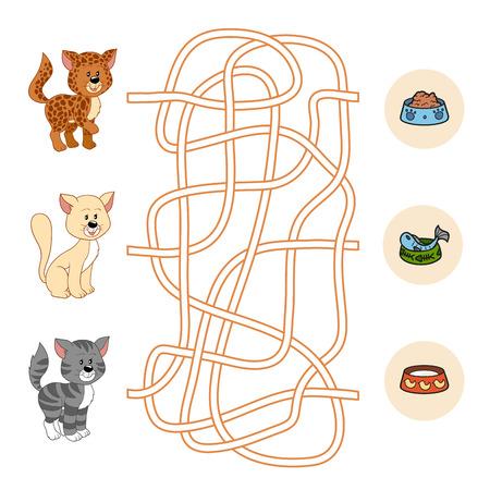 laberinto: Maze juego (gatos y alimentos)