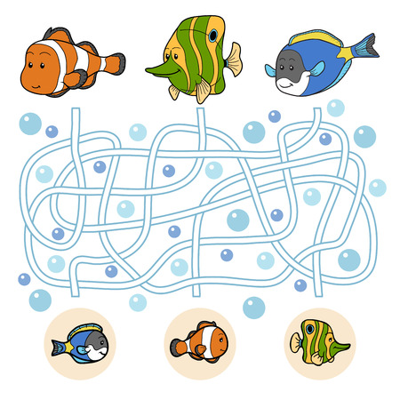 Maze game: fish family Illustration
