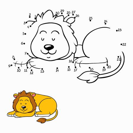 lijntekening: Spel van nummers (leeuw) Stock Illustratie