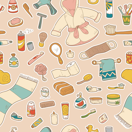 personal hygiene: Seamless pattern of vector cartoon bathroom elements and personal hygiene items