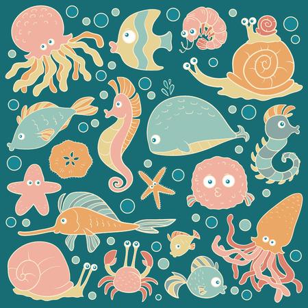 Set of vector ocean animals, stickers of fish Vector