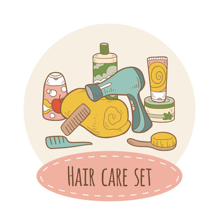 woman hygiene protection: Hair care set Illustration