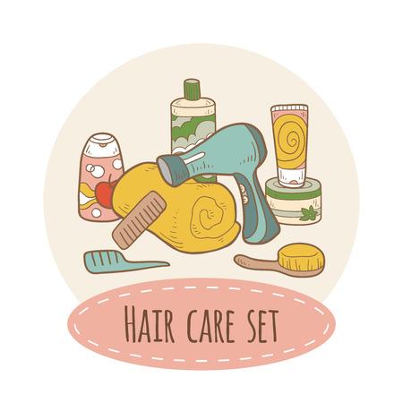 Hair care set Иллюстрация