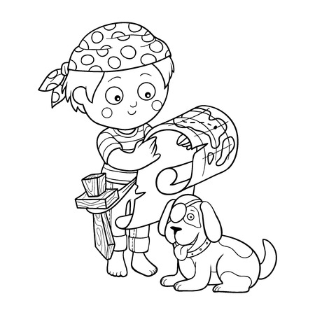 cartoon pirate: Coloring book (boy and dog playing pirates)